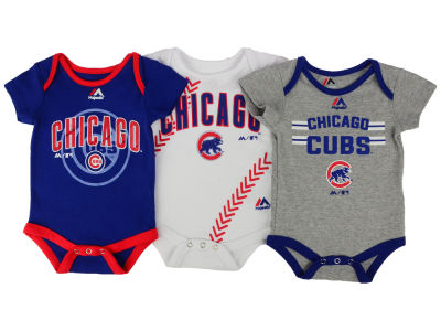 Chicago Cubs Majestic MLB Newborn Three Strikes Bodysuit Set