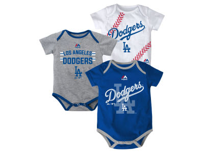 Los Angeles Dodgers Majestic MLB Newborn Three Strikes Bodysuit Set