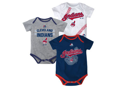 Cleveland Indians MLB Newborn Three Strikes Bodysuit Set