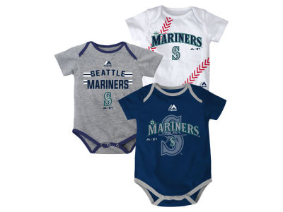 Seattle Mariners MLB Newborn Three Strikes Bodysuit Set