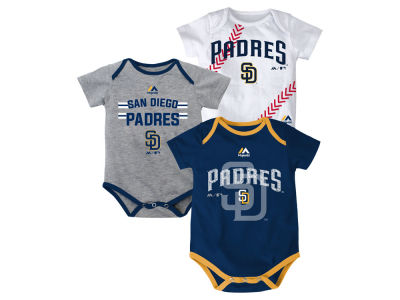 San Diego Padres MLB Newborn Three Strikes Bodysuit Set