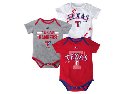 Texas Rangers MLB Newborn Three Strikes Bodysuit Set