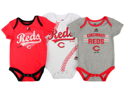 Cincinnati Reds MLB Newborn Three Strikes Bodysuit Set