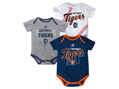 Detroit Tigers MLB Newborn Three Strikes Bodysuit Set