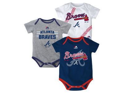 Atlanta Braves MLB Infant Three Strikes Bodysuit Set