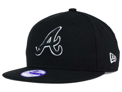 Atlanta Braves New Era MLB Youth Black White 9FIFTY Snapback Cap