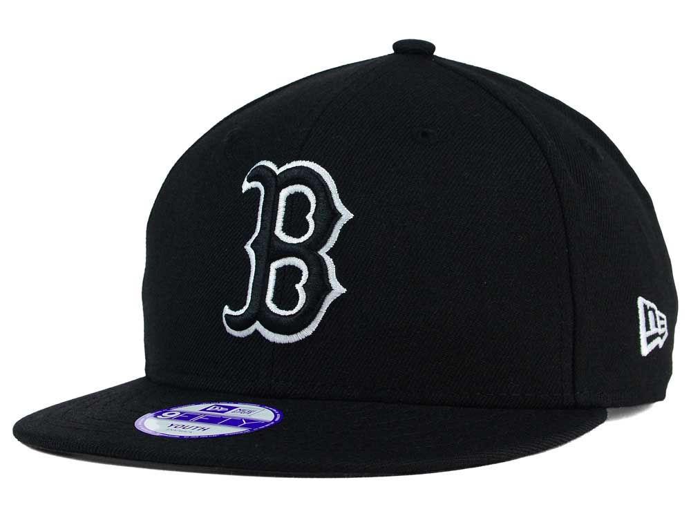 Boston Red Sox New Era MLB Youth Black White 9FIFTY Snapback Cap ... e08524882f9