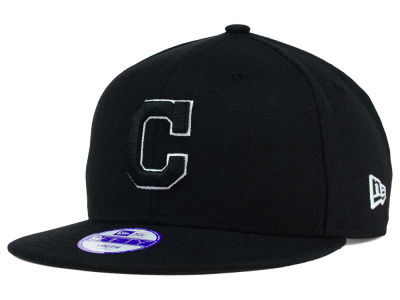 Cleveland Indians New Era MLB Youth Black White 9FIFTY Snapback Cap