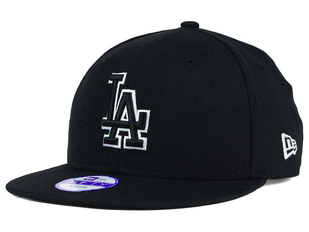Los Angeles Dodgers New Era MLB Youth Black White 9FIFTY Snapback Cap  377aee62fea9