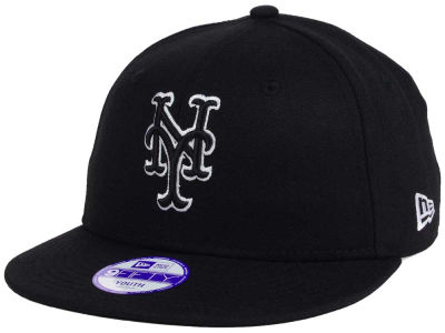 New York Mets New Era MLB Youth Black White 9FIFTY Snapback Cap