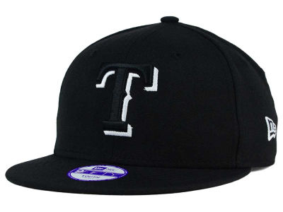Texas Rangers New Era MLB Youth Black White 9FIFTY Snapback Cap