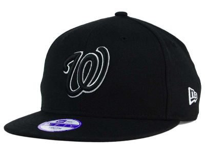 Washington Nationals New Era MLB Youth Black White 9FIFTY Snapback Cap