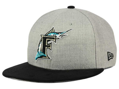 Florida Marlins New Era MLB Heather On Suede 9FIFTY Snapback Cap