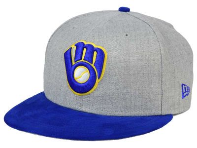 Milwaukee Brewers New Era MLB Heather On Suede 9FIFTY Snapback Cap