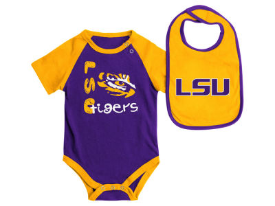 LSU Tigers NCAA Newborn Rookie Onesie & Bib Set