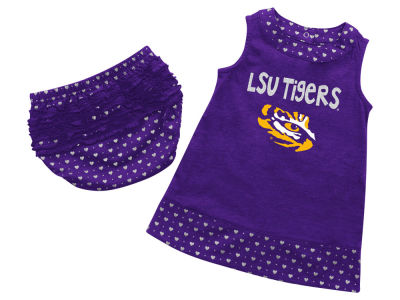 LSU Tigers NCAA Newborn Girls Heartbeat Dress Set