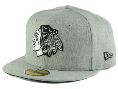 Chicago Blackhawks New Era NHL Heather Gray Black White 59FIFTY Cap