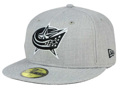 Columbus Blue Jackets New Era NHL Heather Gray Black White 59FIFTY Cap