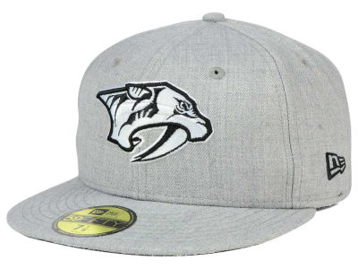 Nashville Predators New Era NHL Heather Gray Black White 59FIFTY Cap