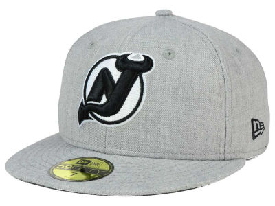 New Jersey Devils New Era NHL Heather Gray Black White 59FIFTY Cap