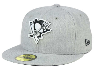 Pittsburgh Penguins New Era NHL Heather Gray Black White 59FIFTY Cap