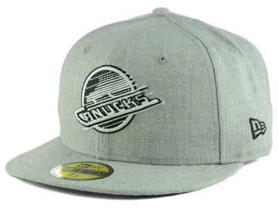 Vancouver Canucks New Era NHL Heather Gray Black White 59FIFTY Cap