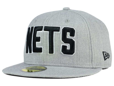 New Jersey Nets New Era NBA HWC Heather Black White 59FIFTY Cap