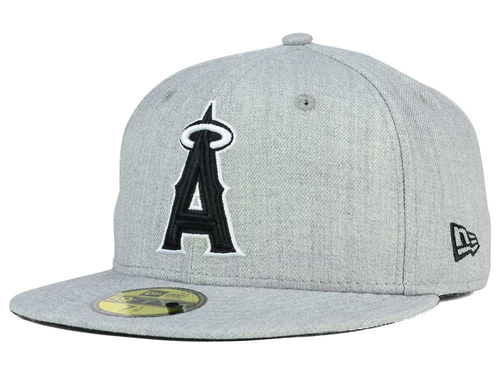 Los Angeles Angels New Era MLB Heather Black White 59FIFTY Cap  4a8d294aa07d