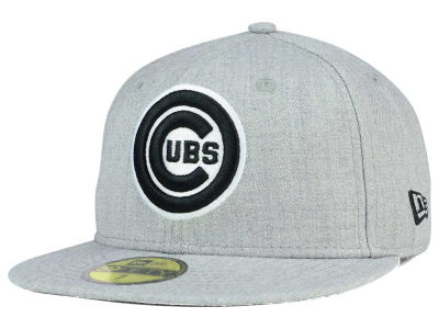 Chicago Cubs New Era MLB Heather Black White 59FIFTY Cap
