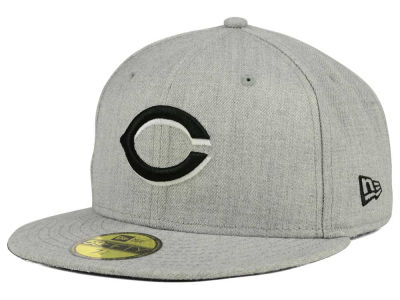 Cincinnati Reds New Era MLB Heather Black White 59FIFTY Cap