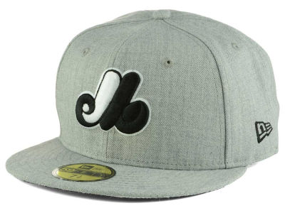 Montreal Expos New Era MLB Heather Black White 59FIFTY Cap