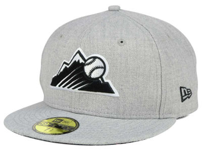 Colorado Rockies New Era MLB Heather Black White 59FIFTY Cap