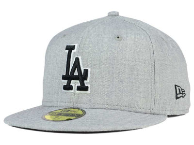 Los Angeles Dodgers New Era MLB Heather Black White 59FIFTY Cap
