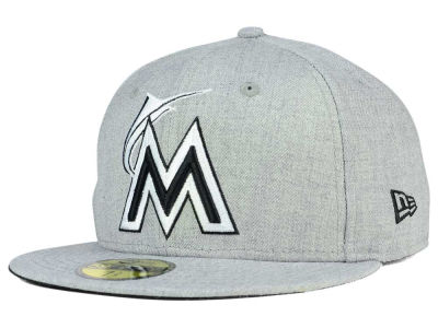 Miami Marlins New Era MLB Heather Black White 59FIFTY Cap