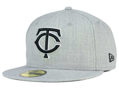 Minnesota Twins New Era MLB Heather Black White 59FIFTY Cap