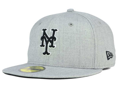 New York Mets New Era MLB Heather Black White 59FIFTY Cap