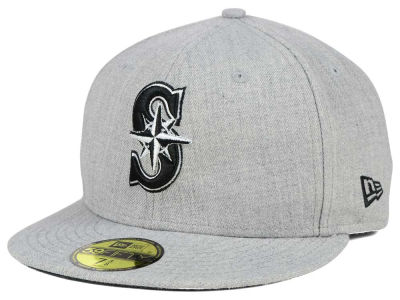 Seattle Mariners New Era MLB Heather Black White 59FIFTY Cap