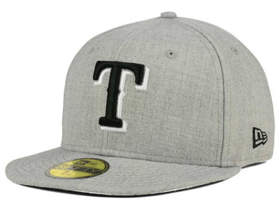 Texas Rangers New Era MLB Heather Black White 59FIFTY Cap