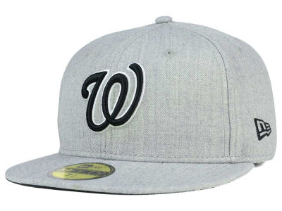 Washington Nationals New Era MLB Heather Black White 59FIFTY Cap