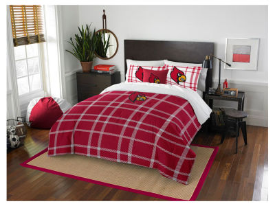 Louisville Cardinals Full Comforter Plaid Set
