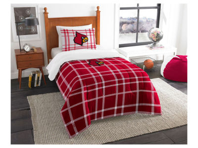 Louisville Cardinals Twin Comforter Plaid Set