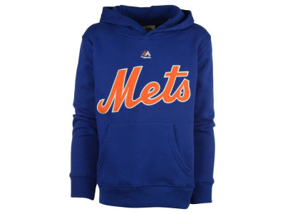 New York Mets Majestic MLB Kids Wordmark Fleece Hoodie