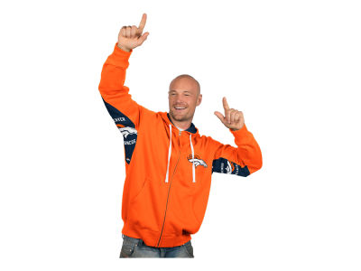 Denver Broncos NFL Men's Hands High Victory Sueded Fleece Full Zip Hoodie