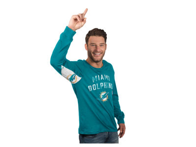 Miami Dolphins GIII NFL Men's Hands High Play Action Slub Jersey Long Sleeve T-Shirt