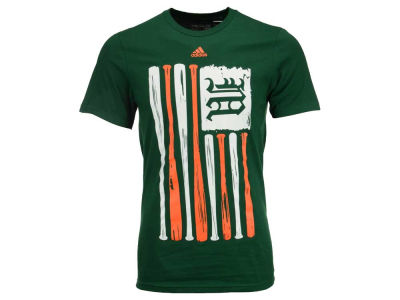Miami Hurricanes adidas NCAA Men's Baseball Bat Flag T-Shirt