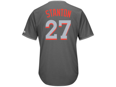 Miami Marlins Giancarlo Stanton Majestic MLB Men's Platinum Cool Base Jersey