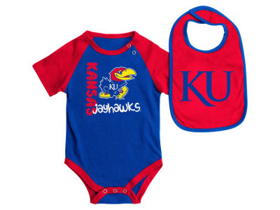 Kansas Jayhawks NCAA Newborn Rookie Onesie & Bib Set