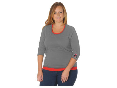 Ohio State Buckeyes NCAA Women's Plus Size Scattered Rhinestone 3/4 Sleeve T-Shirt