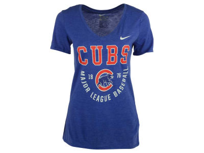 Chicago Cubs Nike MLB Women's Triblend Logo Mid V-Neck T-Shirt