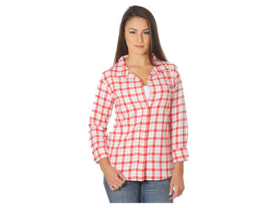 Ohio State Buckeyes NCAA Women's Missy Boyfriend Fit Plaid Flannel Shirt